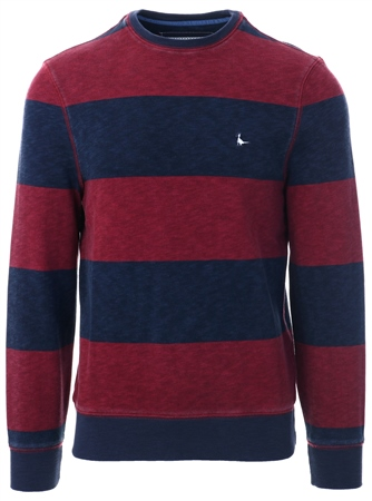 Jack Wills Red Baderston Stripe Sweat  - Click to view a larger image