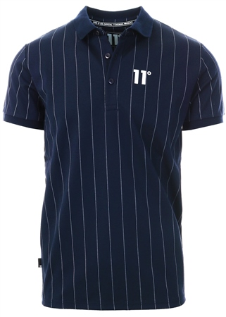 11degrees Navy/White Stripe Polo Shirt  - Click to view a larger image