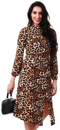 Ax Paris Leopard Print High Neck Midi Dress  - Click to view a larger image