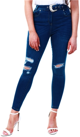 Parisian Dark Blue Indigo Western Buckle Belt Distressed Knee Skinny Jeans  - Click to view a larger image