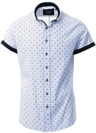 Bewley & Ritch White Short Sleeve Printed Shirt  - Click to view a larger image