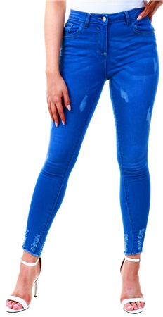 Parisian Bright Blue Distressed Skinny Jean  - Click to view a larger image