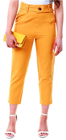 Urban Bliss Mustard High Waist Button Trouser  - Click to view a larger image