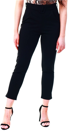 Urban Bliss Black High Waist Buckle Trousers  - Click to view a larger image