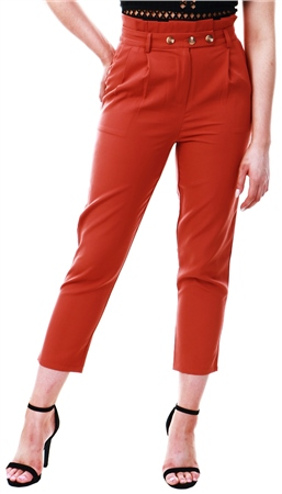 Urban Bliss Rust High Waist Button Tapered Trouser  - Click to view a larger image