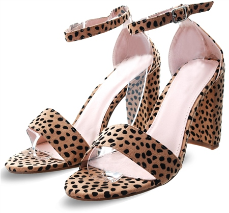 Krush Leopard Suedette Block Heel  - Click to view a larger image