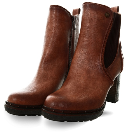 Mustang Brown Stud Heeled Boot  - Click to view a larger image