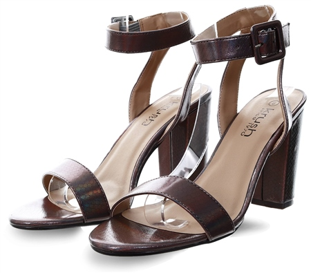 Krush Pewter Block Heel Shoe  - Click to view a larger image