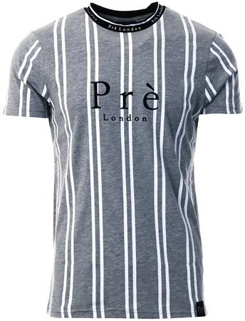 Pre London Grey /White Stripe T-Shirt  - Click to view a larger image