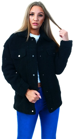 Only Black / Black Sherpa Coat  - Click to view a larger image