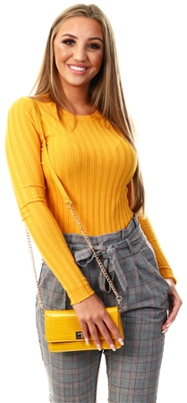 Qed Mustard Rib Crew Neck Jumper  - Click to view a larger image