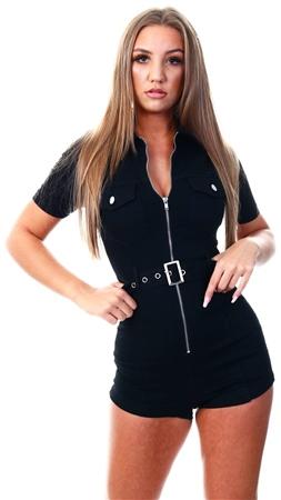 Parisian Black Zip Front Short Sleeve Stretch Denim Playsuit  - Click to view a larger image