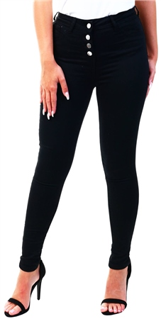 Parisian Black Button Up Detail High Waist Skinny Jeans  - Click to view a larger image