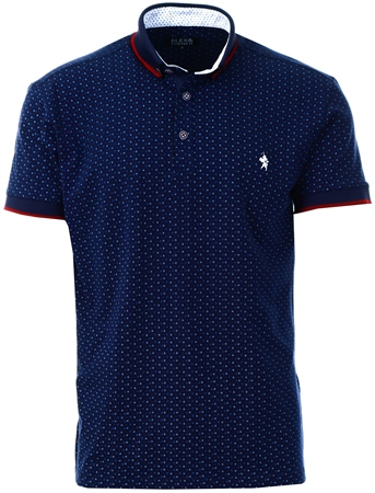 Alex & Turner Navy Pattern Short Sleeve Polo Shirt  - Click to view a larger image