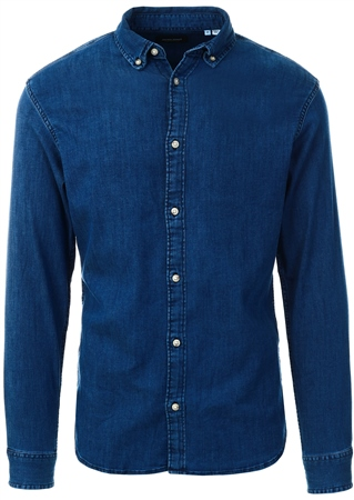 Jack & Jones Blue / Medium Blue Denim Leon Stretch Denim Shirt L/S Denim Shirt  - Click to view a larger image