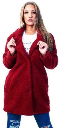 Only Brown / Merlot Sherpa Coat  - Click to view a larger image