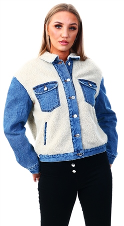 Only Off White / Medium Blue Denim Teddy Denim Jacket  - Click to view a larger image