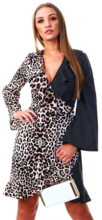 Influence Leopard Print / Polka Dot Mix And Match Wrap Midi Dress  - Click to view a larger image