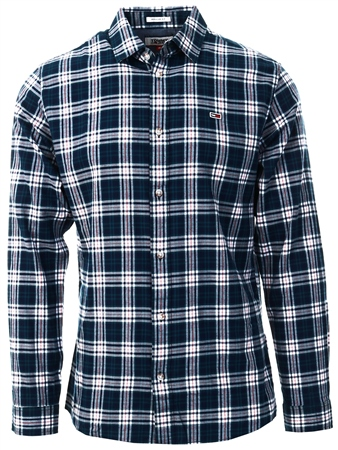 Tommy Jeans Black Iris / Green Regular Fit Windowpane Check Shirt  - Click to view a larger image