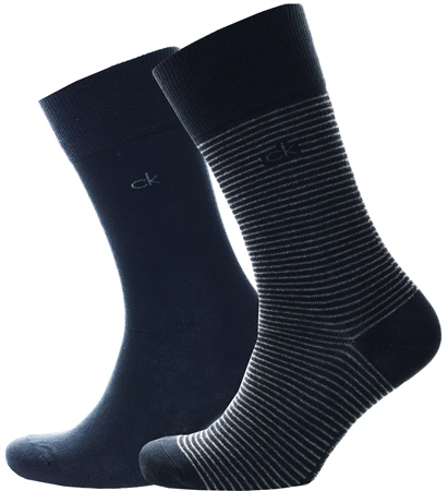 Calvin Klein Navy 2 Pack Crew Socks  - Click to view a larger image