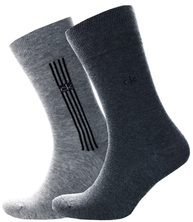 Calvin Klein Oxford Heather Stripe Crew 2 Pack Socks  - Click to view a larger image