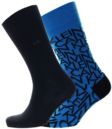 Calvin Klein Racing Blue Mu2 Logo Crew 2 Pack Socks  - Click to view a larger image