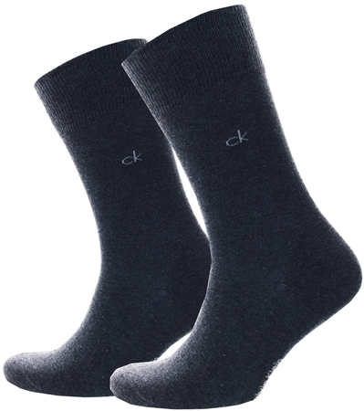 Calvin Klein Charcoal 2 Pack Crew Knitted Sock  - Click to view a larger image
