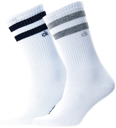 Calvin Klein White Sports 2 Pack Socks  - Click to view a larger image
