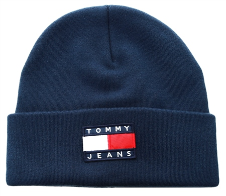 Hilfiger Denim Navy Knitted Flag Beanie  - Click to view a larger image