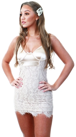 Ax Paris Mushroom Lace Bodycon Dress  - Click to view a larger image