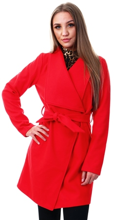 Vila Red / Racing Red Tie Waist Wool Coat  - Click to view a larger image