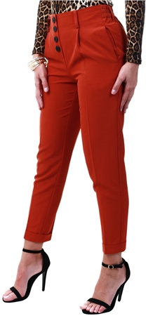 Pieces Red / Picante Button Trousers  - Click to view a larger image