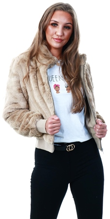 Only Nomad / Stone Faux Fur Jacket  - Click to view a larger image