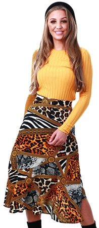 Missi Lond Yellow Satin Animal Print Frill Midi Skirt  - Click to view a larger image