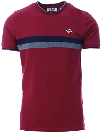 Le Shark Beet Red Cromwell Racer Stripe Panel Cotton Pique T-Shirt  - Click to view a larger image