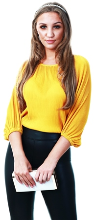 Missi London Mustard Pleat Long Sleeve Top  - Click to view a larger image