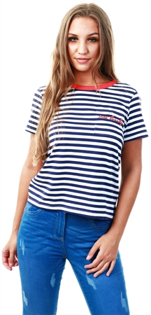 Brave Soul Navy / Red Stripe Slogan T-Shirt  - Click to view a larger image