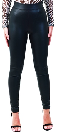 Only Black / Black Leather Look Leggings  - Click to view a larger image