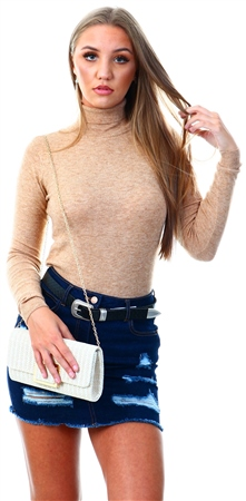 Brave Soul Camel Fine Knit Polo Neck Jumper  - Click to view a larger image