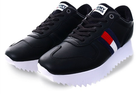 Tommy Jeans Black High Cleated Trainers  - Click to view a larger image