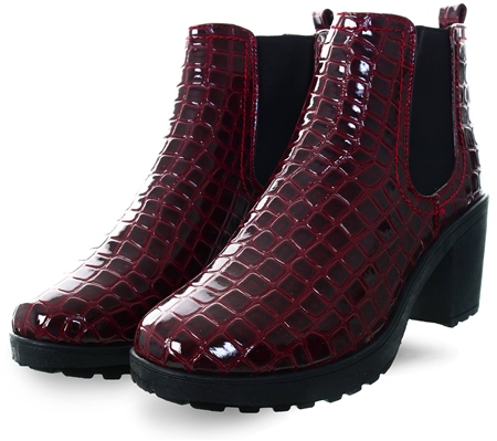 Krush Burgundy Croc Print Boot  - Click to view a larger image