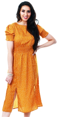 Influence Mustard Print Midi Split Dress  - Click to view a larger image