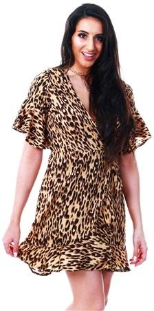 Ax Paris Stone Frill Wrap Dress  - Click to view a larger image