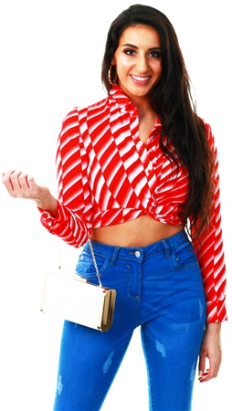 Glamorous Red Stripe Pattern Cropped Shirt  - Click to view a larger image