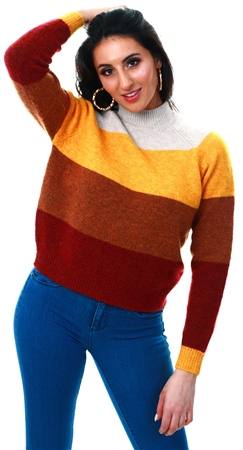 Only Pumice Stone / Golden Striped Knitted Pullover  - Click to view a larger image
