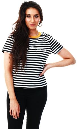 Brave Soul Black / Yellow Stripe Slogan T-Shirt  - Click to view a larger image