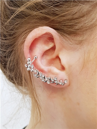 Re Born Sliver Flower And Leaf Earcuffs  - Click to view a larger image
