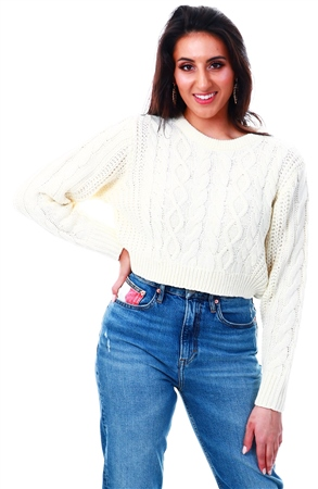 Brave Soul Cream Chunky Knit Crop Jumper  - Click to view a larger image