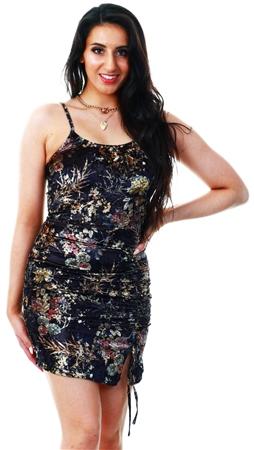 Parisian Black Floral Velvet Ruching Detail Mini Dress  - Click to view a larger image