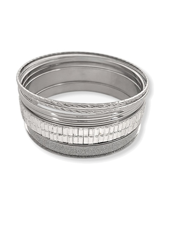 Re Born Silver Mix Glitter Baguette Bangles Pack  - Click to view a larger image
